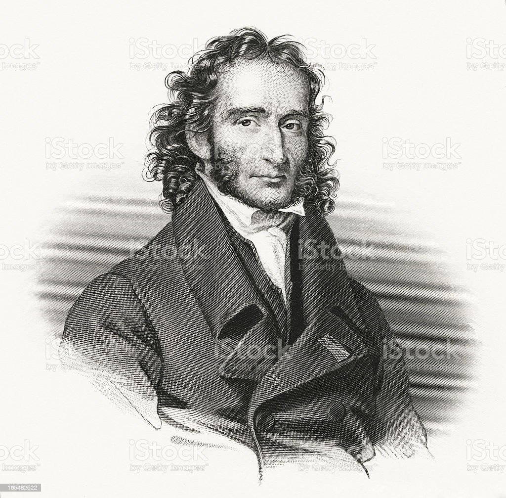 Niccolò Paganini - Antique Engraved Portrait royalty-free stock vector art