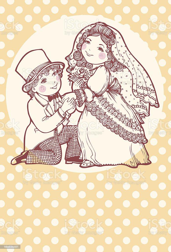 Nice bride and groom royalty-free stock vector art