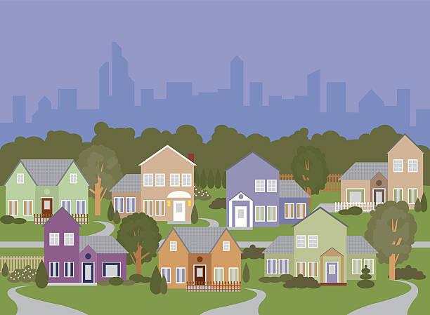 ilustrações de stock, clip art, desenhos animados e ícones de boa vizinhança na periferia - driveway, no people