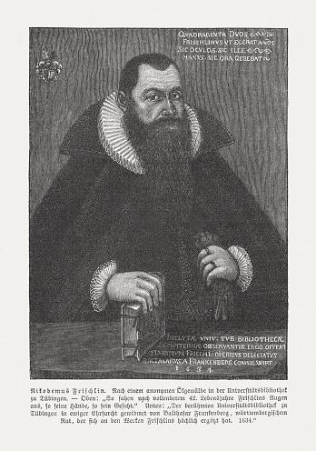 Nicodemus Frischlin (1547-1590), German philologist, wood engraving, published in 1897