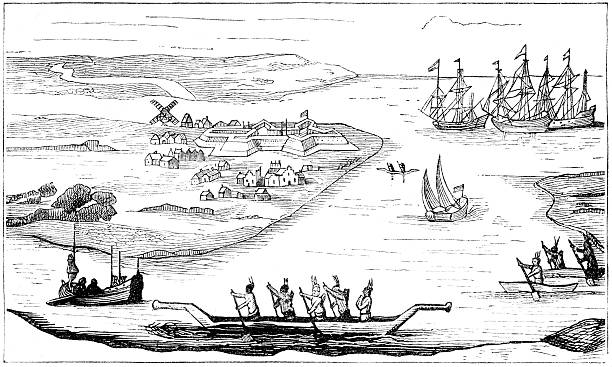 Nieuw Amsterdam  1880 stock illustrations