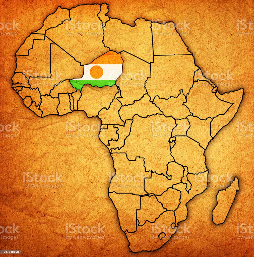 Niger Flag On Political Map Of Africa Stock Vector Art More Images