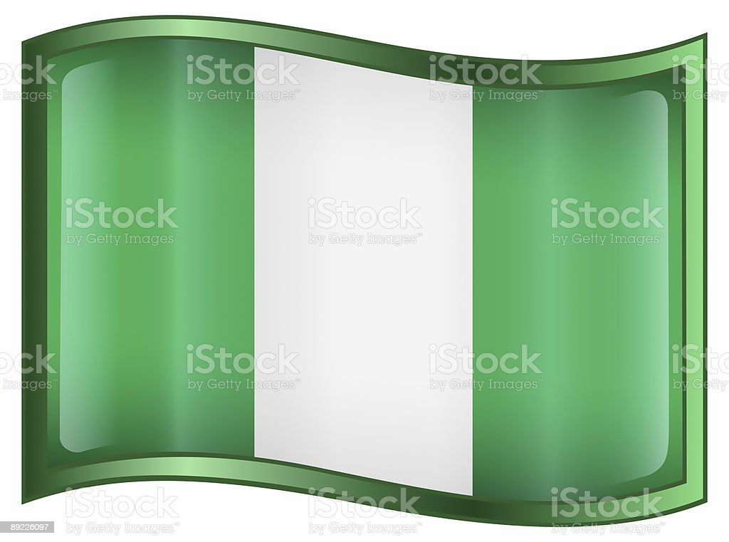 Nigeria Flag Icon, isolated on white background. royalty-free stock vector art