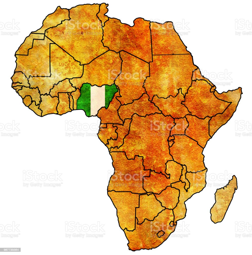 Nigeria Flag On Political Map Of Africa Stock Vector Art More