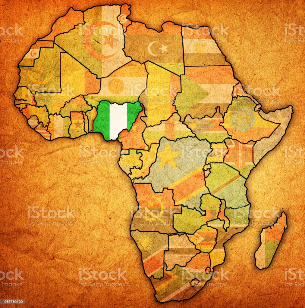 Map Of Africa Art.Nigeria On Actual Vintage Political Map Of Africa Stock Vector Art