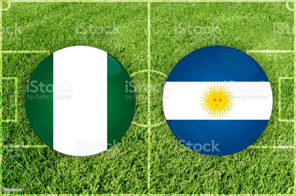 Partido de fútbol de Nigeria vs Argentina - ilustración de arte vectorial