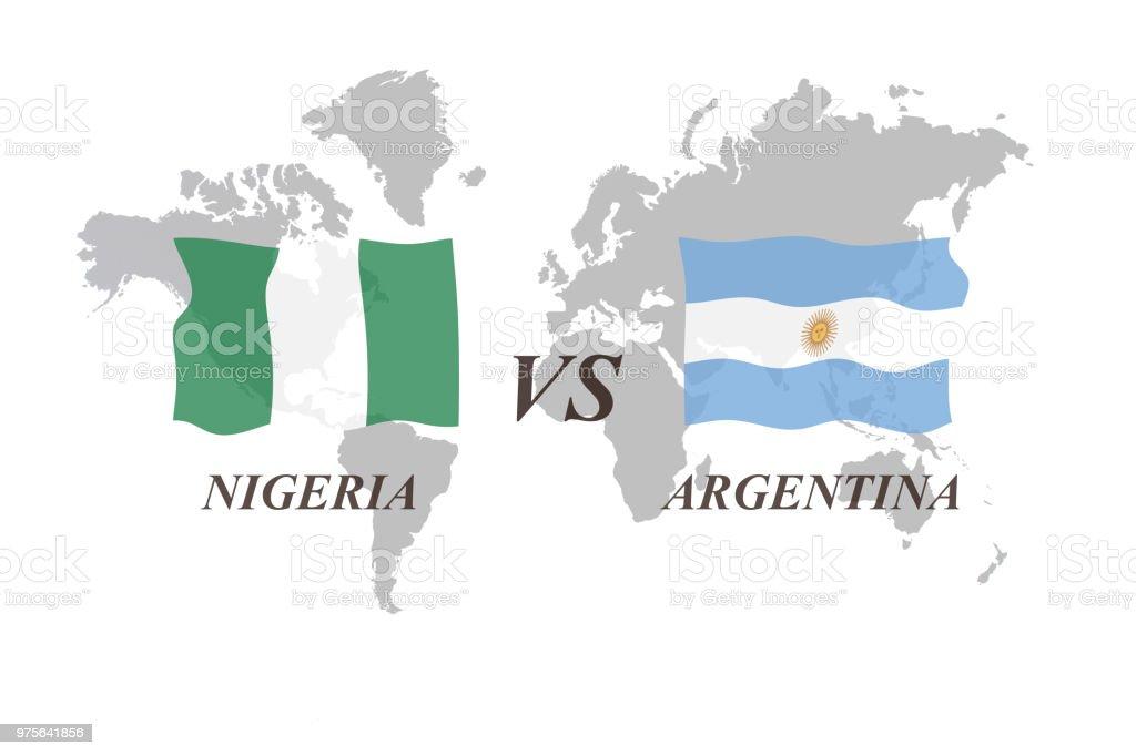 Nigeria vs Argentina - ilustración de arte vectorial