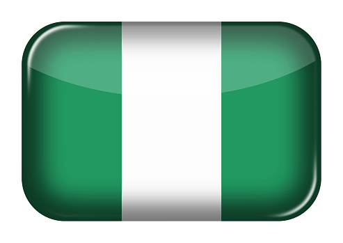 Nigeria web icon rectangle button with clipping path 3d illustration