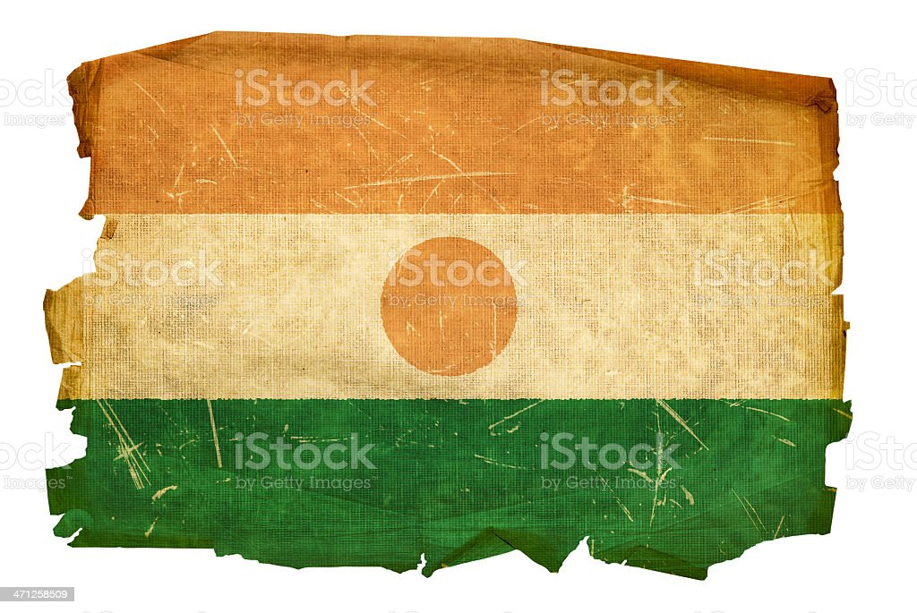 Nigerian Flag old, isolated on white background vector art illustration