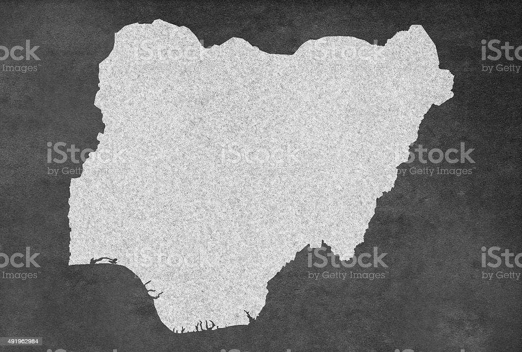 Nigerian Map Outline on an old Blackboard vector art illustration
