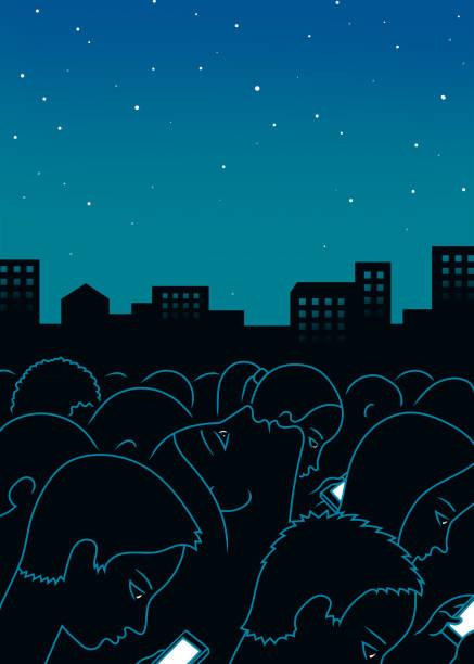 Night city art print background vector art illustration