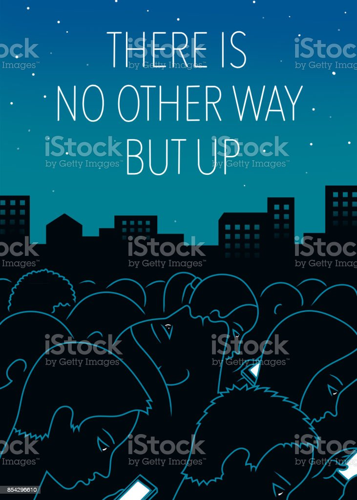 Night city art print poster with the inscription - Royalty-free Addiction stock illustration