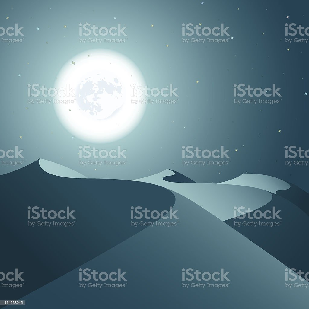 Night Desert vector art illustration