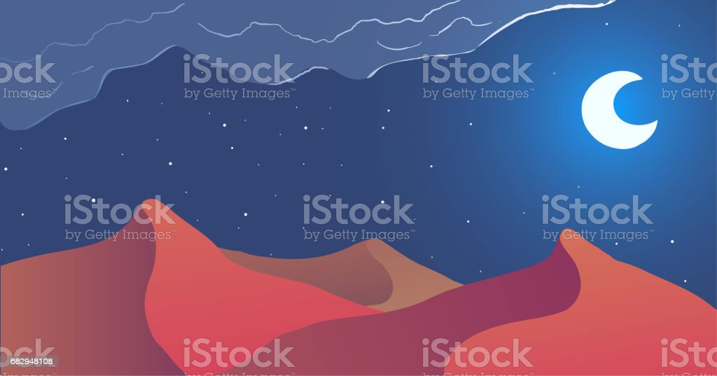 Night in desert. Vector illustration. royalty-free night in desert vector illustration stock vector art & more images of abstract