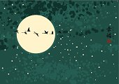 """""""night landscape with the moon and a flock of birds with Chinese characters """"""""Happiness"""""""""""""""
