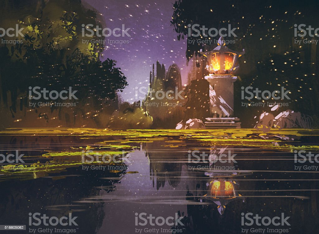 night landscape with stone lantern vector art illustration
