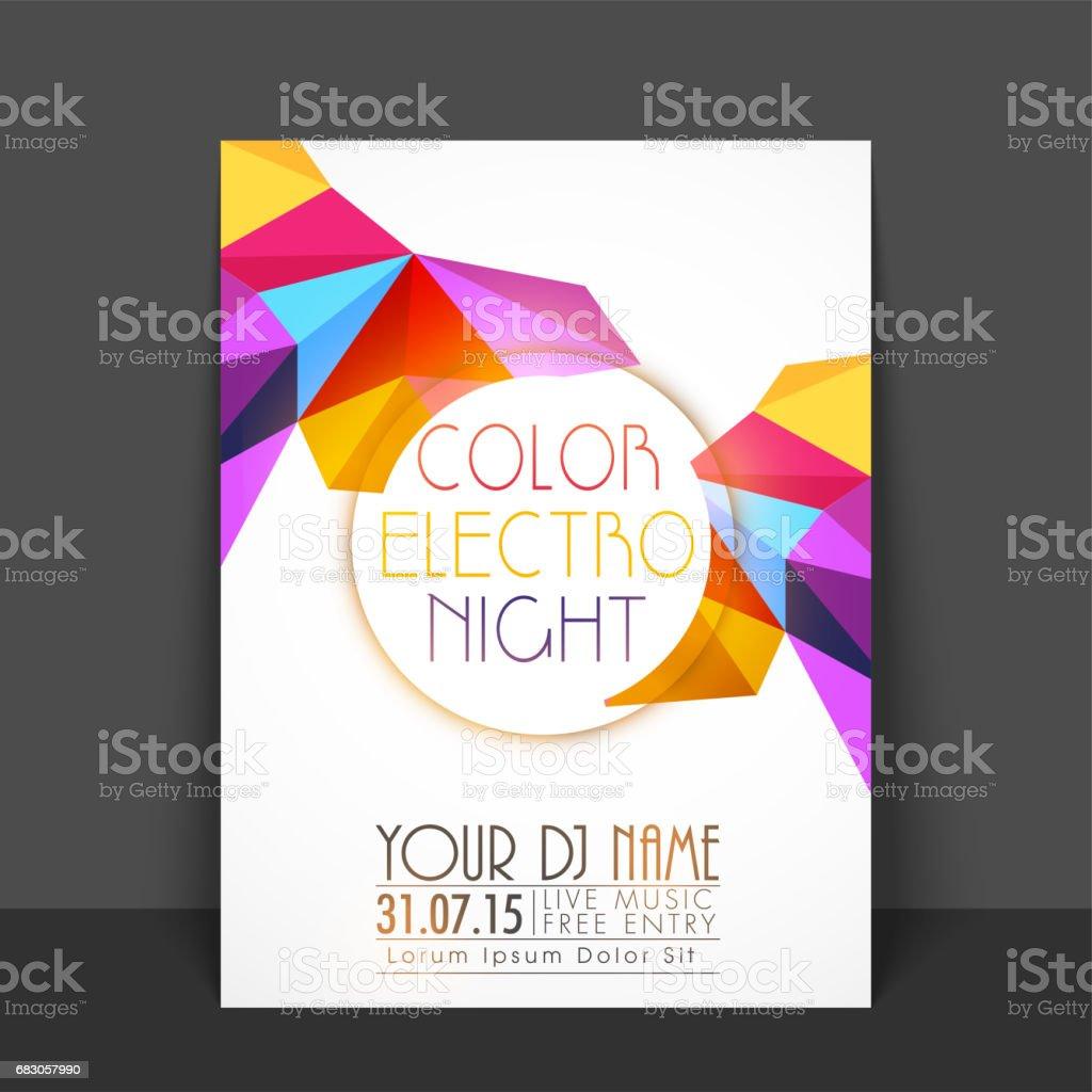 Night Party Flyer, Template or Banner with colorful abstract polygonal design. night party flyer template or banner with colorful abstract polygonal design - arte vetorial de stock e mais imagens de abstrato royalty-free
