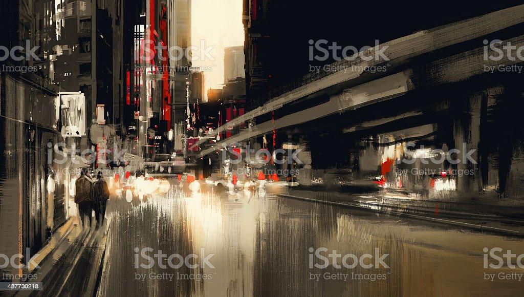 Cena noturna da cidade de pintura scape - ilustração de arte em vetor