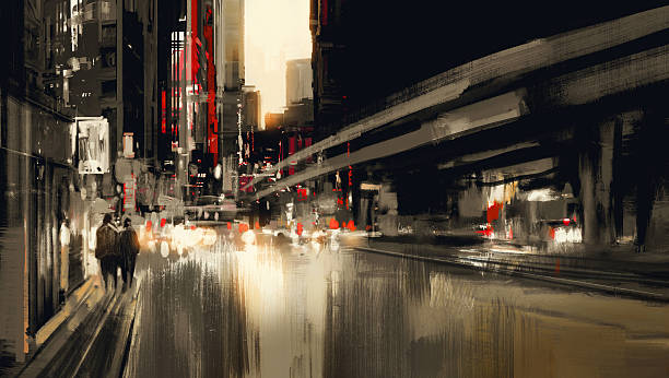 night scene city scape painting - urban fashion stock illustrations, clip art, cartoons, & icons