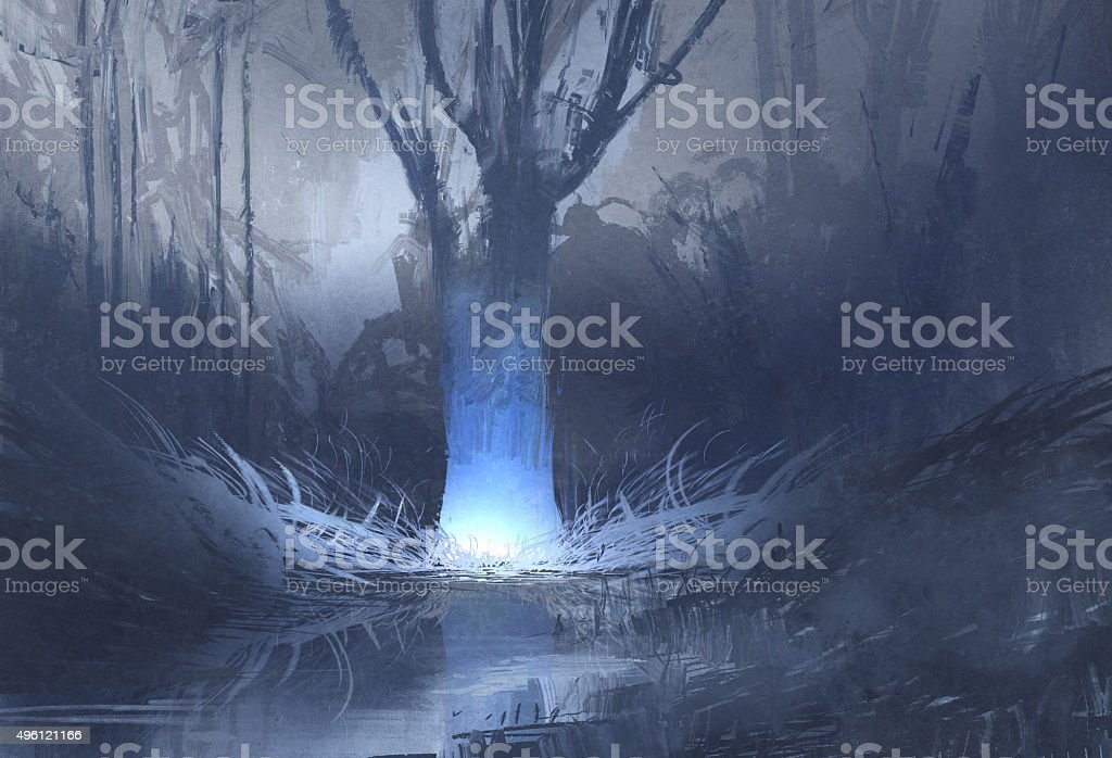 night scene of spooky forest with swamp vector art illustration