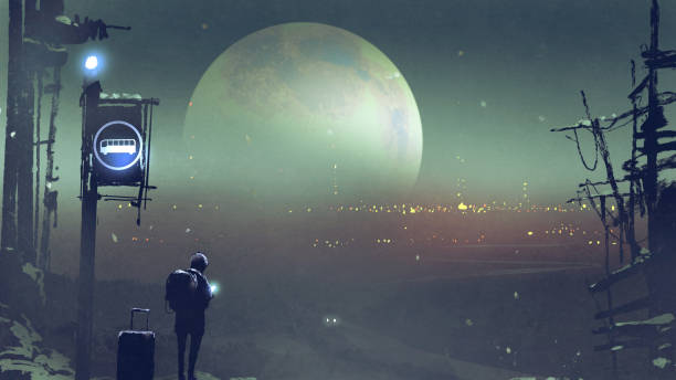 night-scenery-of-the-boy-at-the-bus-stop-waiting-illustration-id853196298