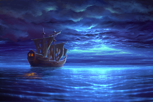 Night sea after storm with sailboat, painting