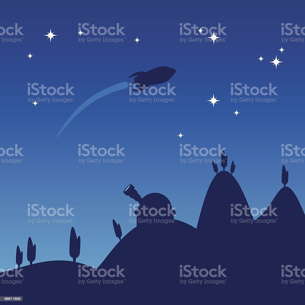 Night sky silhouette - Royalty-free Color Image stock vector