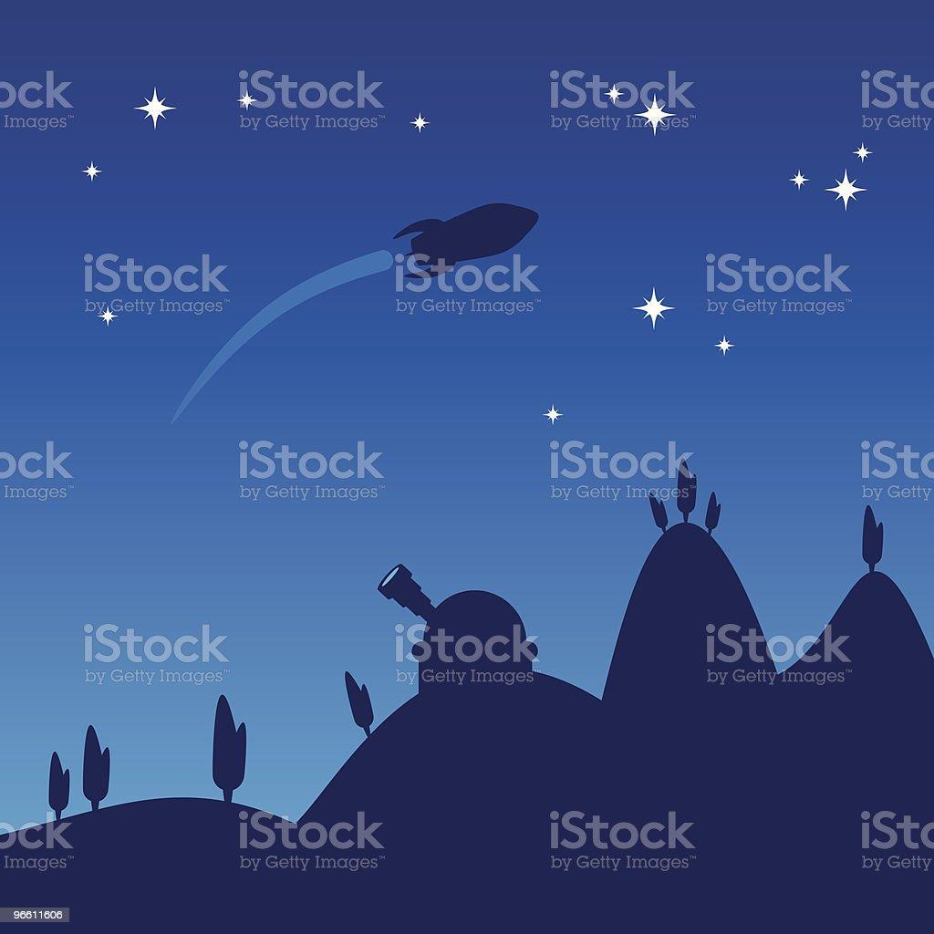 Night sky silhouette - Lizenzfrei Baum Vektorgrafik