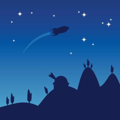 Noite Céu Silhueta - Arte vetorial de stock e mais imagens de A caminho