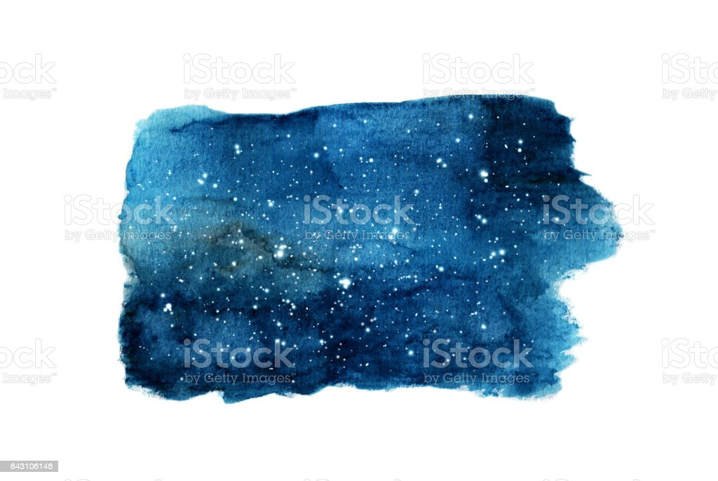 Night sky with stars isolated on white background. Watercolor vector art illustration