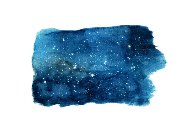 night sky with stars isolated on white background. watercolor - skies stock illustrations, clip art, cartoons, & icons