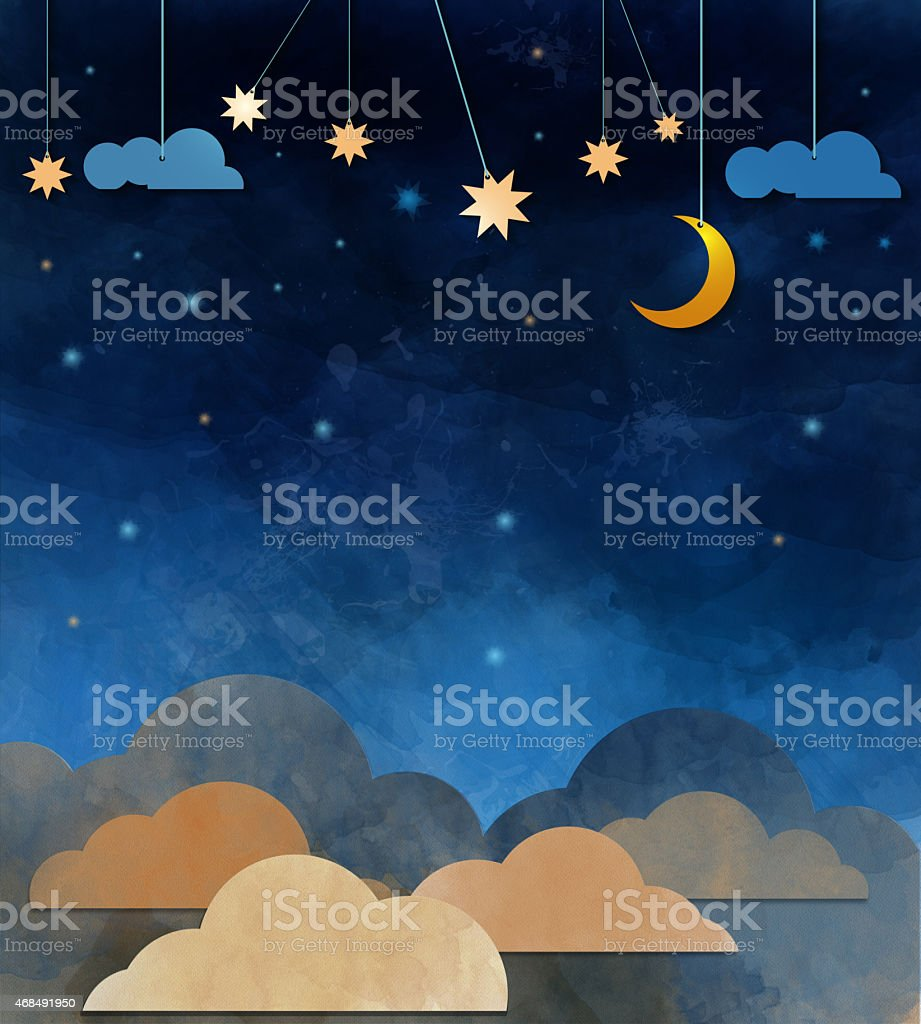 Night sky,cloud, moon and star - paper cut vector art illustration