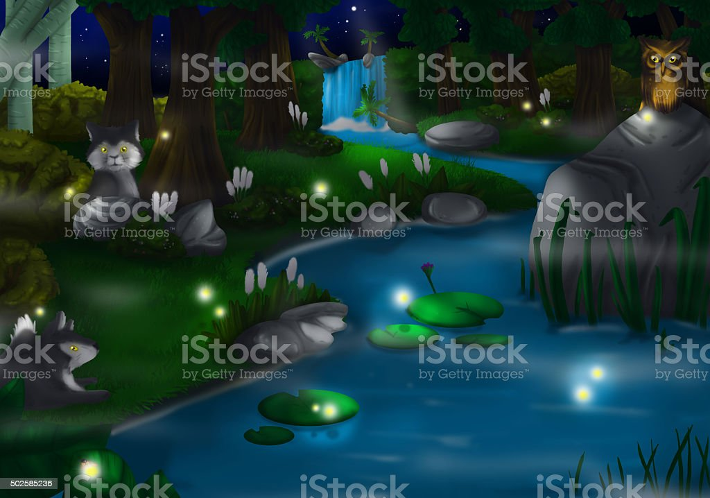 Night Time in Deep Green Forest vector art illustration