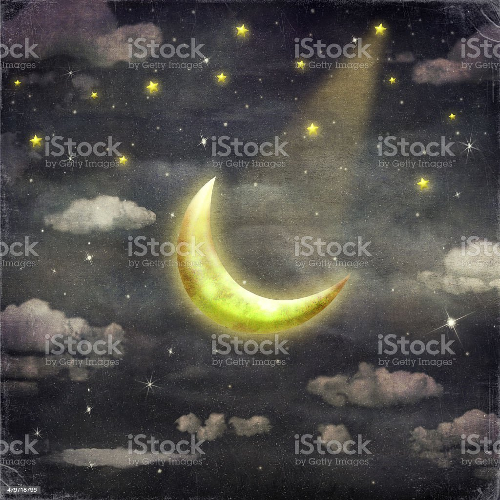 Night time with stars and moon vector art illustration