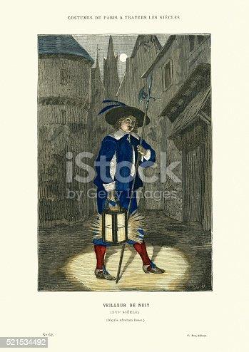 Vintage engraving of a Night watchman (Veilleur de Nuit) of 16th Century, Paris, France