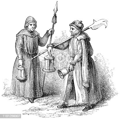 Two night watchmen (circa 16th century) from the Works of William Shakespeare. Vintage etching circa mid 19th century.