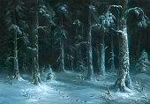 istock Night winter forest 1072413150