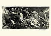 istock Nightmare of monsters, skulls, undead beasts, zombies 1286014013