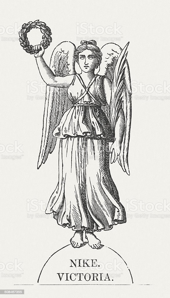 Nike, Greek goddess of Victory, wood engraving, published in 1878  royalty-free