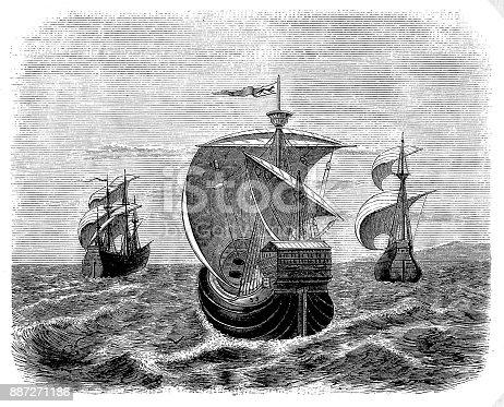 Illustration of a Nina, Pinta and Santa Maria - Christopher Columbus' ships