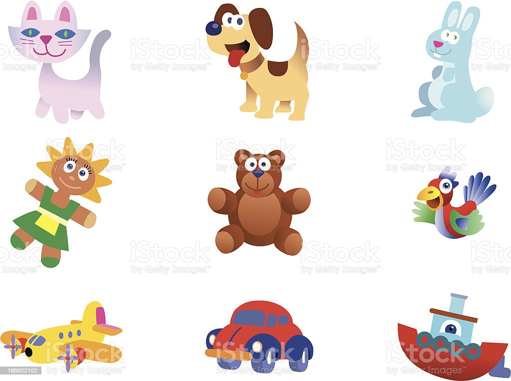 Nine Cute Toys,  Animals and Vehicles vector art illustration
