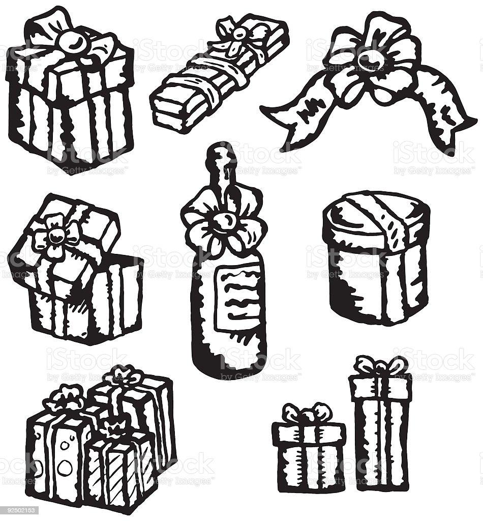 Nine Gift-themed Vector Spot Illustrations royalty-free nine giftthemed vector spot illustrations stock vector art & more images of anniversary