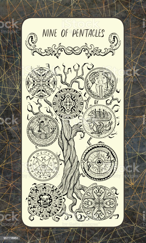 Nine Of Pentacles The Magic Gate Deck Tarot Card Stock