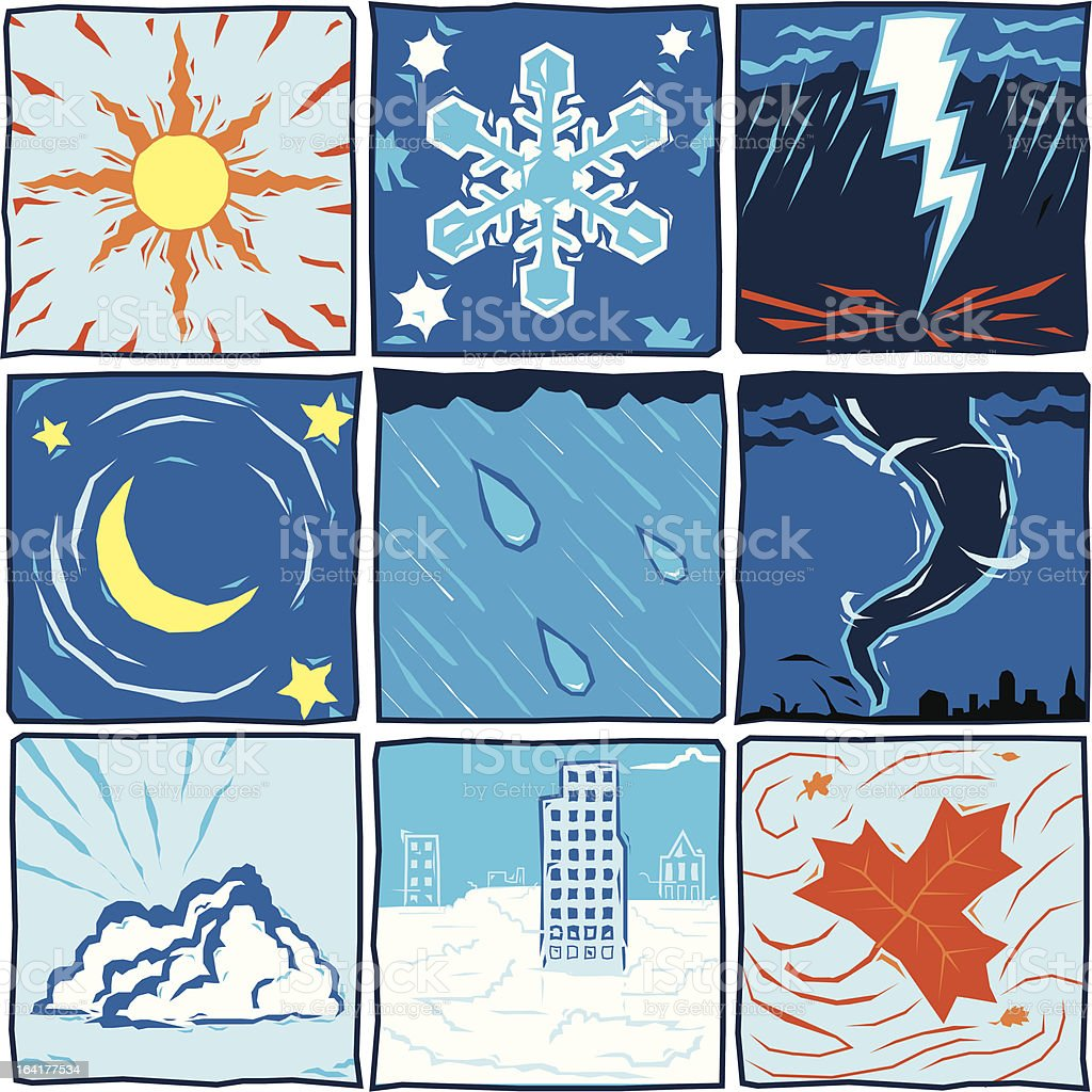 Nine 'woodcut' weather icons royalty-free stock vector art