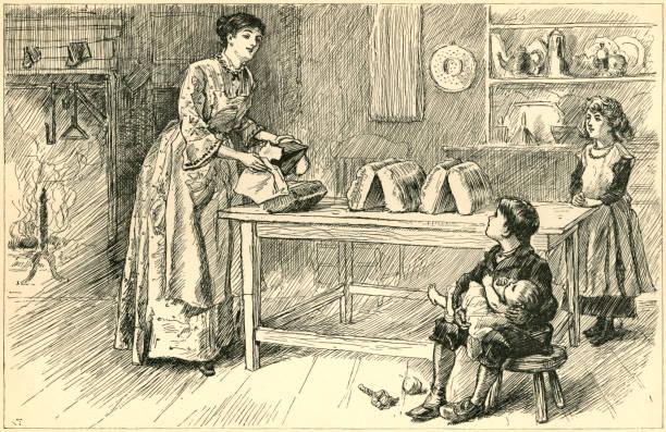 ilustrações de stock, clip art, desenhos animados e ícones de nineteenth century american mother baking bread - baking bread at home