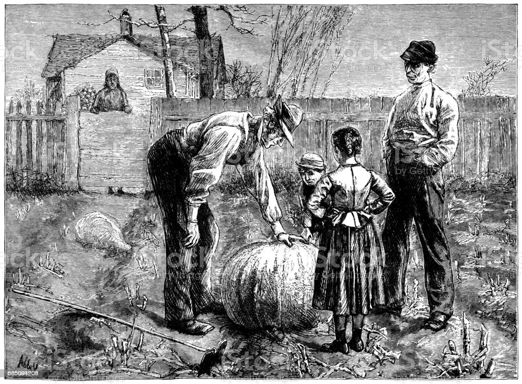 Nineteenth century Americans admiring a large pumpkin vector art illustration