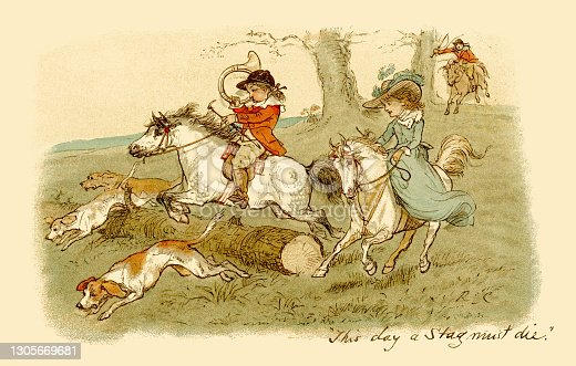 istock Nineteenth century children on a stag hunt 1305669681