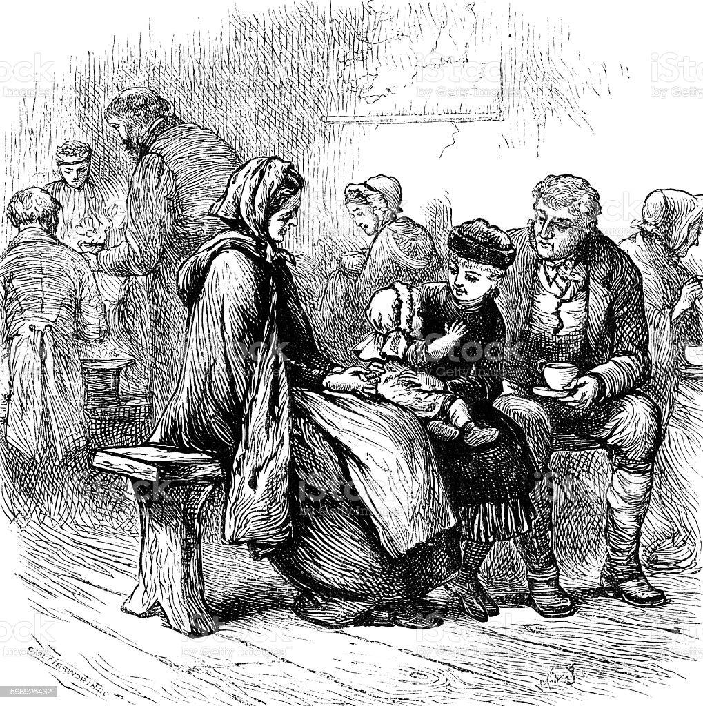 Nineteenth century Irish emigrants vector art illustration