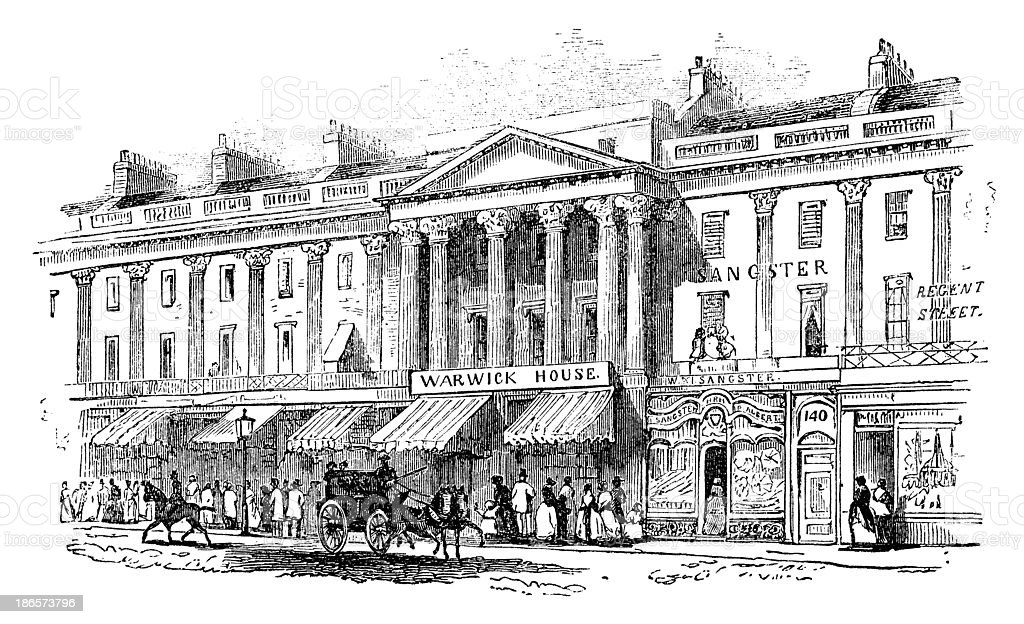 Nineteenth century Regent Street, London royalty-free stock vector art