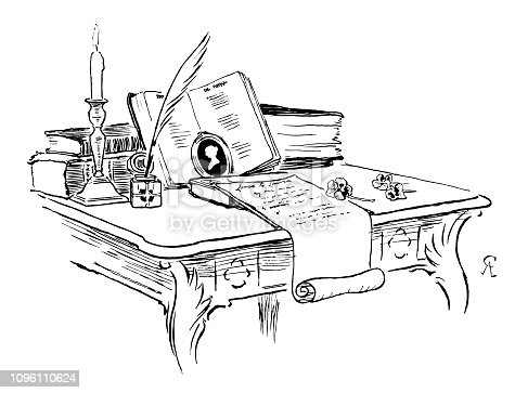 """An antique writing desk containing some books, a letter, candle and candlestick, ink well, quill pen and some pansies as well as a silhouette miniature portrait. It would appear that someone is writing a romantic missive to a lady named Laura, who is probably the subject of the portrait. From """"Every-Day Characters"""" written by W. M. Praed and illustrated by Cecil Aldin. Published by Kegan Paul, Trench, Trubner & Co. in 1896."""